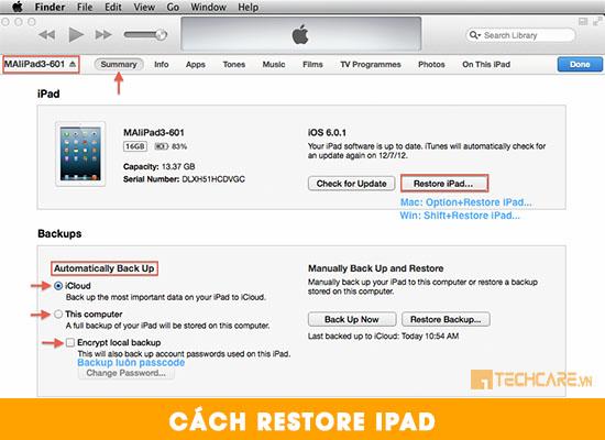 Cách restore Ipad