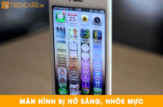 Thay màn hình Iphone bị hở sáng nhòe mực