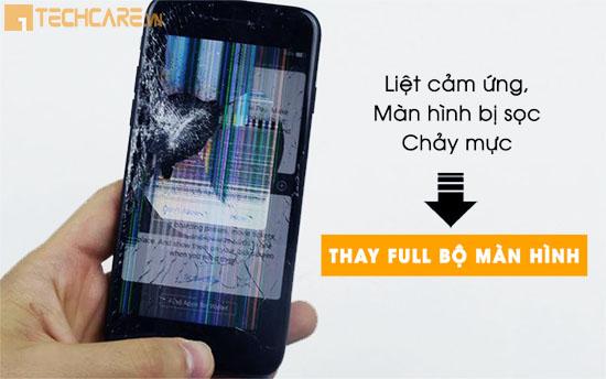 Thay màn hình Iphone bị sọc, chảy mực