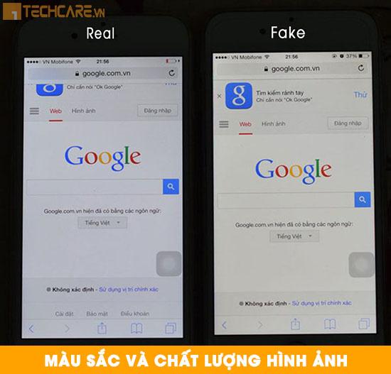 Phân biệt màn hình Iphone chính hãng dựa trên màu sắc