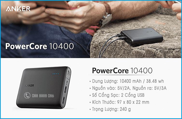 pin sạc dự phòng  Anker PowerCore 10400 chính hãng đà nẵng