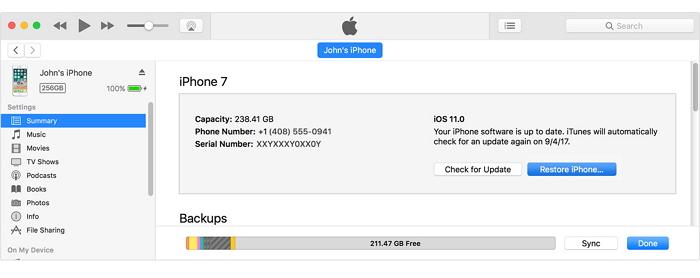 Khôi phục iPhone của bạn từ iTunes