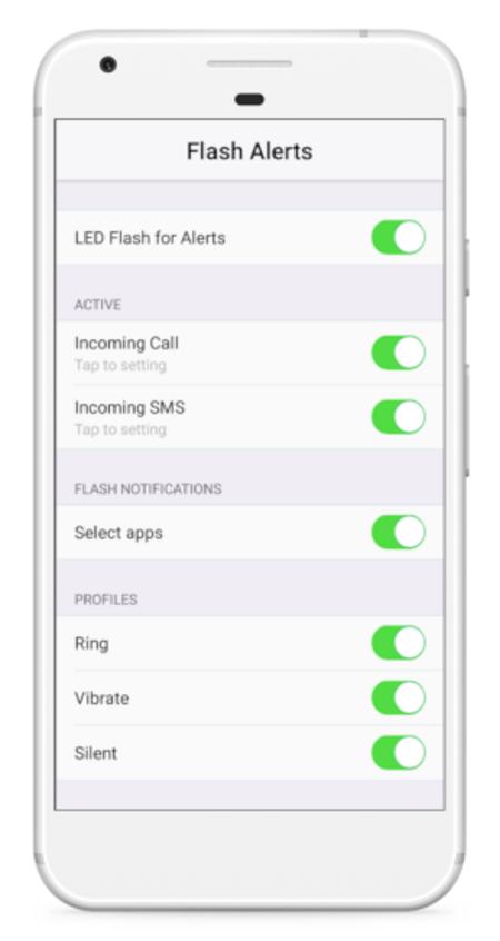 Cài đặt cuộc gọi đến nháy đèn flash tải một ứng dụng chuyên dụng như Cảnh báo Flash - Flash Alerts