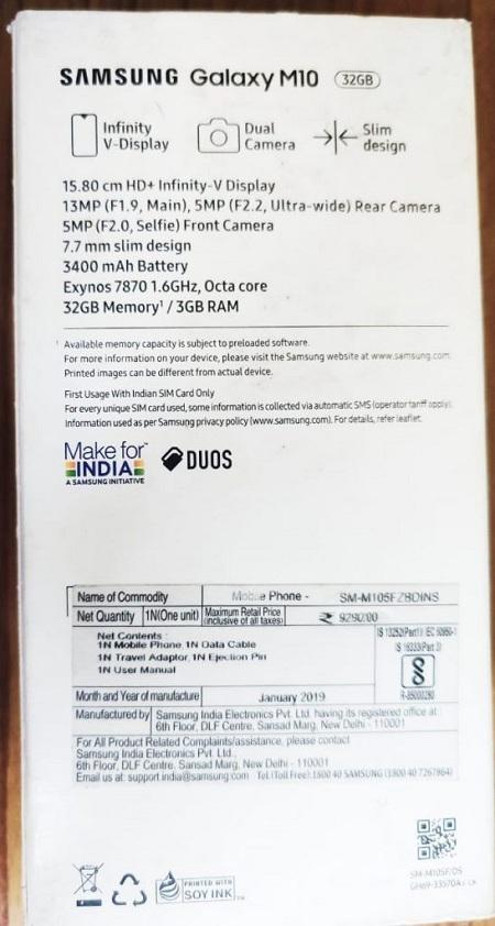 Test màn hình Samsung bằng xác minh thông số kỹ thuật từ hộp