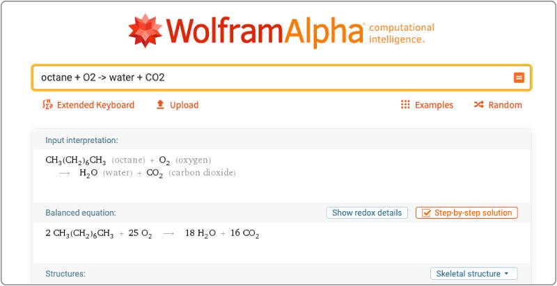 3. WolframAlpha -app giải bài tập hóa