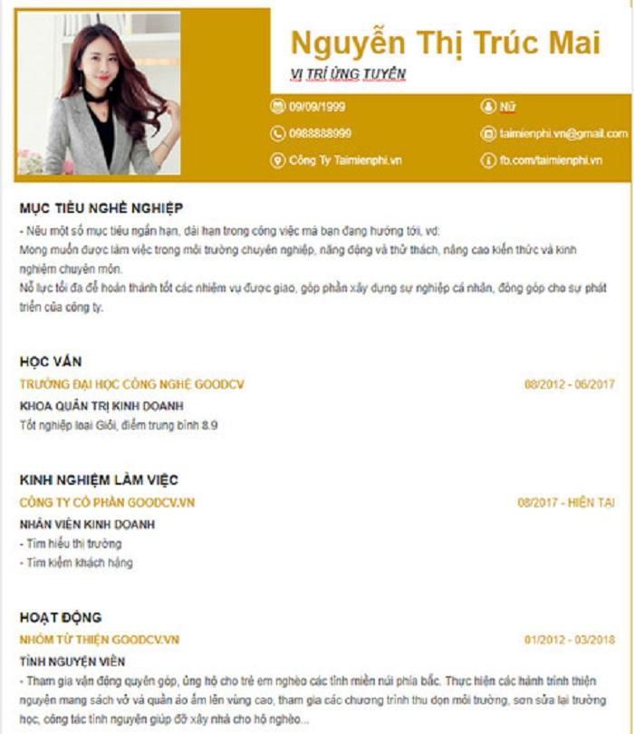 Download mẫu CV xin việc